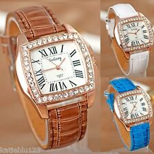 Rose Gold & Crystal Ladies Women's Watch, Mock Croc Strap, Ladies Wristwatch