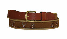 ZEP-PRO Embroidered Leather Canvas Ribbon Deer Buck Belt NWT < select size
