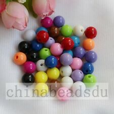 50pcs 14MM Acrylic Solid Color Loose Spacer Round Ball Beads For Charm Bracelet