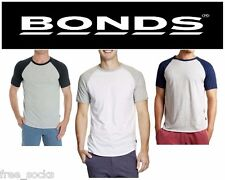 MENS BONDS RAGLAN CREW NECK TSHIRT TEE T SHIRT MEN'S BLACK GREY BLUE FASHION TOP