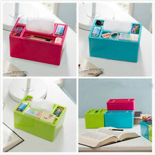 Plastic Multifunction Desktop Room Office Tissue Box Organizer Stationery