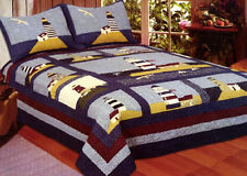 Light House quilt set King or Full/Queen New England Country lodge 4807 cotton