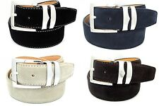 "Men's Genuine Suede Leather Belts Silver Buckle Casual Suede Belt 1.4"" Wide"