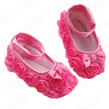 Baby Girl Toddler Soft Non-slip Rose Princess Dress Shoes For 3-12 months