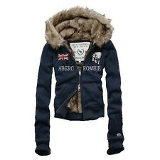 Brand New Abercrombie Fitch A&F United Kingdom Flag Navy Women Fur Hoodie S/M/L