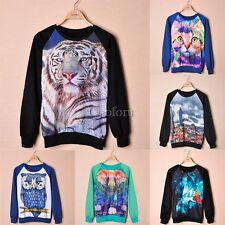 New Sweatshirts Sweater Pullover with Cats Lion Graphic Print Tops for Women