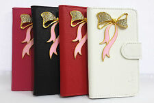 3D Bow Bling Diamond Crystal Flip Leather Card wallet Cover Case for Samsung 1