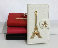 3D Diamond Crystal Tower Flip Leather Card Wallet Cover Case for SONY Cell Phone
