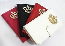 luxury Crown Crystal Diamond Flip Leather Wallet Pouch Cover Case for SONY Phone