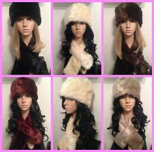 New Ladies/Womens Soft Luxury Faux Fur Hat And Scarf Lined Xmas Gift Set Cossack