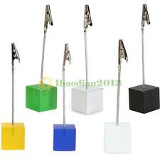 Wire Resin Base Photo Holder Stand Cube Card Note Memo Recipe Clip Display Gift