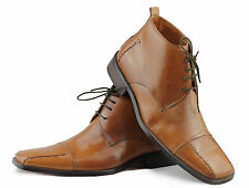 Mens Real Leather Tan Italian Style Formal Dress Office Shoes Lace Up Ankle Boot
