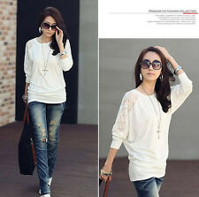 Women's Lace Tops Long sleeved T-shirt Hollow Out Tunic Blouse Bottoming shirt