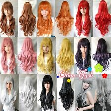 """1 Pcs 32""""/80cm Heat Resistant Bang Long Wavy Curly Cosplay Anime Wig Party Hair"""