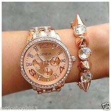 Rose Gold Bling Crystal Lady Women Girl Bracelet Quartz Wrist Designer Watch
