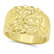 Men's Classy Solid 14k Gold Filled Classic Nugget Style Real Heavy Plated Ring