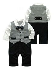 6-24M Baby Boy Long Sleeve Wedding  Bowtie Gray Vest Tuxedo Romper Onesie Outfit