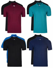 Mens Fruit of the Loom Plain Polo T Shirt Pique Collared Casual Tee  2Pack D22