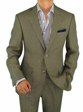 Bianco B Men's Modern Fit Two Button 2 Piece Linen Suit