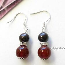 Chic Black Genuine pearls&Natural Carnelian Silver Earrings AU SELLER e044-2