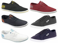 New Mens Henleys Lace Up Side Logo Canvas Shoe Pumps Trainers Plimsolls Casual