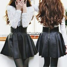 Women Ladies Sexy High Waist Rivet Stud Leather Pleated Mini Skirt Short Dress