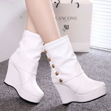 Free P&P Women's Wedges Ankle Boots 10 cm High Heels Shoes Rivets Platform Pumps