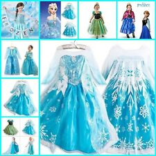 Disney FROZEN Princess Anna Queen Elsa Girls Costume Cosplay Party Formal Dress