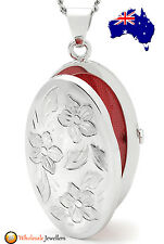 New 925 Sterling Silver Italian Floral Oval Photo Charm Locket Pendant Necklace