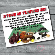 Sports Themed Personalised Birthday Invitations 12x A6 Glossy cards & Envelope