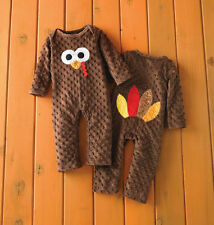 Mud Pie Thanksgiving Brown Turkey One Piece Baby Boy Girl 3M-12M #1032157