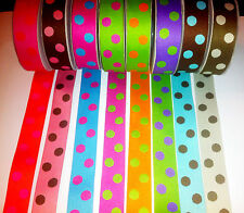 "REVERSIBLE POLKA DOT Ribbon trim satin Double Sided -1"" wide - sold by the Metre"