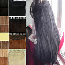 ONE PIECE BLACK BROWN BLONDE CLIP IN HUMAN HAIR EXTENSIONS REMY REAL US STOCK VV