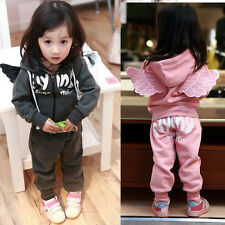 2PCS Kids Boys Girls Angel Wings Hoodies Coat Jacket + Pants 1-7Y Outfits