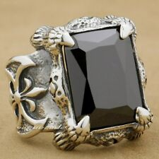 925 Sterling Silver Dragon Claw AXE Black CZ Stone Mens Biker Ring 8D011C