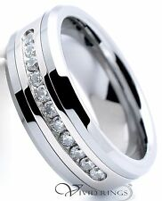 Mens Tungsten Carbide Wedding Band Channel CZ Ring 8mm Size 7.5 to 14.5