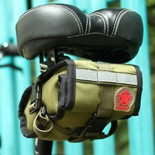 Bicycle Saddle Seat Rear Tail Bag Pannier Pouch Bike Cycling Canvas Army Green