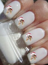 30 CUTE DOG IN SANTA HAT XMAS NAIL ART STICKERS TRANSFERS PARTY FAVORS