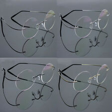 Pure Titanium Rimless Vintage Round Flex Optic Eyeglass Frame Spectacles Rx 2007