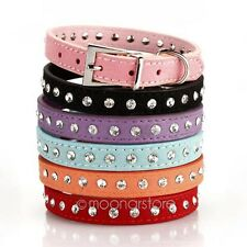 Adjustable Leather Puppy Dog Collar Cat Pet Neck Rhinestone Studded Strap Buckle