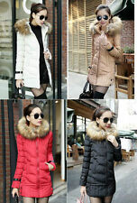 Womens Down Jacket Long Coat Hooded Winter Big Fur Collar Warm Outerwear Fashion