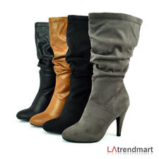 Hot Women Mid Calf Boot High Heel Winter Zipper Soda Record Black Tan Charcoal