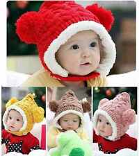 Cute Toddler Kids Baby Boys Girls Wool Knitting Fleece Winter Ear Warmer Hat Cap