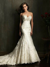 New stock noble white ivory Mermaid lace wedding dress bridal gown  size 4-16W