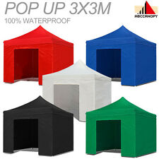 3m x 3m Pop Up Steel Awning / Gazebo  Complete with Sides & weight & carry bag