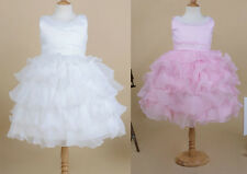 Pageant wedding girl bridesmaid beading ball gown layered tutu toddler kid dress