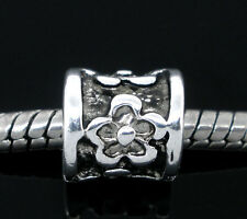 Wholesale Lots Silver Tone Flower Charm Spacer Beads. Fits Charm Bracelet 8x8mm
