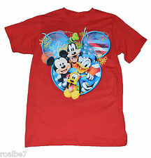 NWT AUTHENTIC DISNEY MICKEY AND PALS MICKEY EARS~FIREWORKS T RED FREE SHIPPING