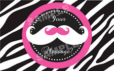 PINK MUSTACHE ZEBRA PRINT Edible Cake Topper Frosting Sheet Image PERSONALIZED!