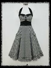 CHEAP~Vintage Retro 40s Housewife Cocktail Dress Pinup Halter Check Swing Dress